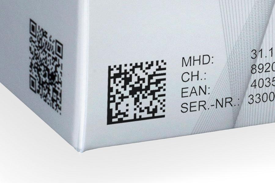 Data Matrix printed on a folding box