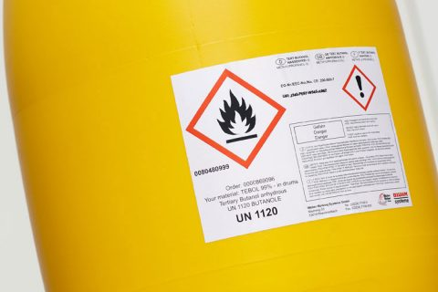 Drum with label for hazardous substances
