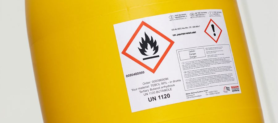 Drum with label for hazardous substances