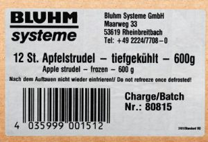 White address label with barcode on carton box