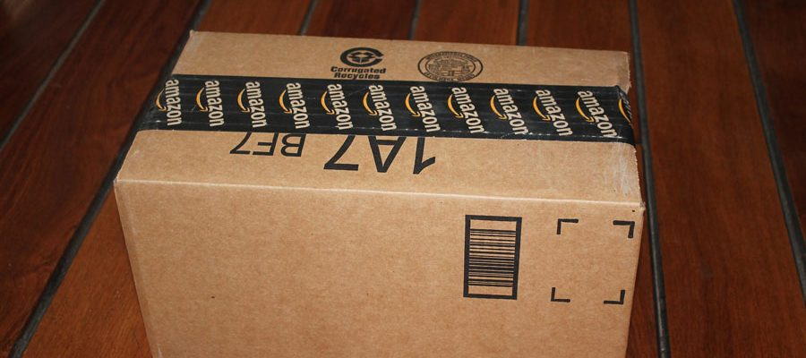An Amazon package with a barcode