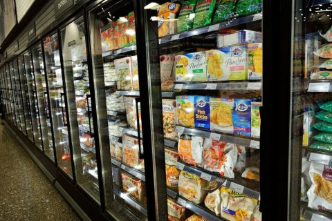 frozen food isle in the supermarket