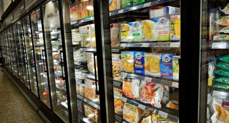 frozen food isle in the supermarket